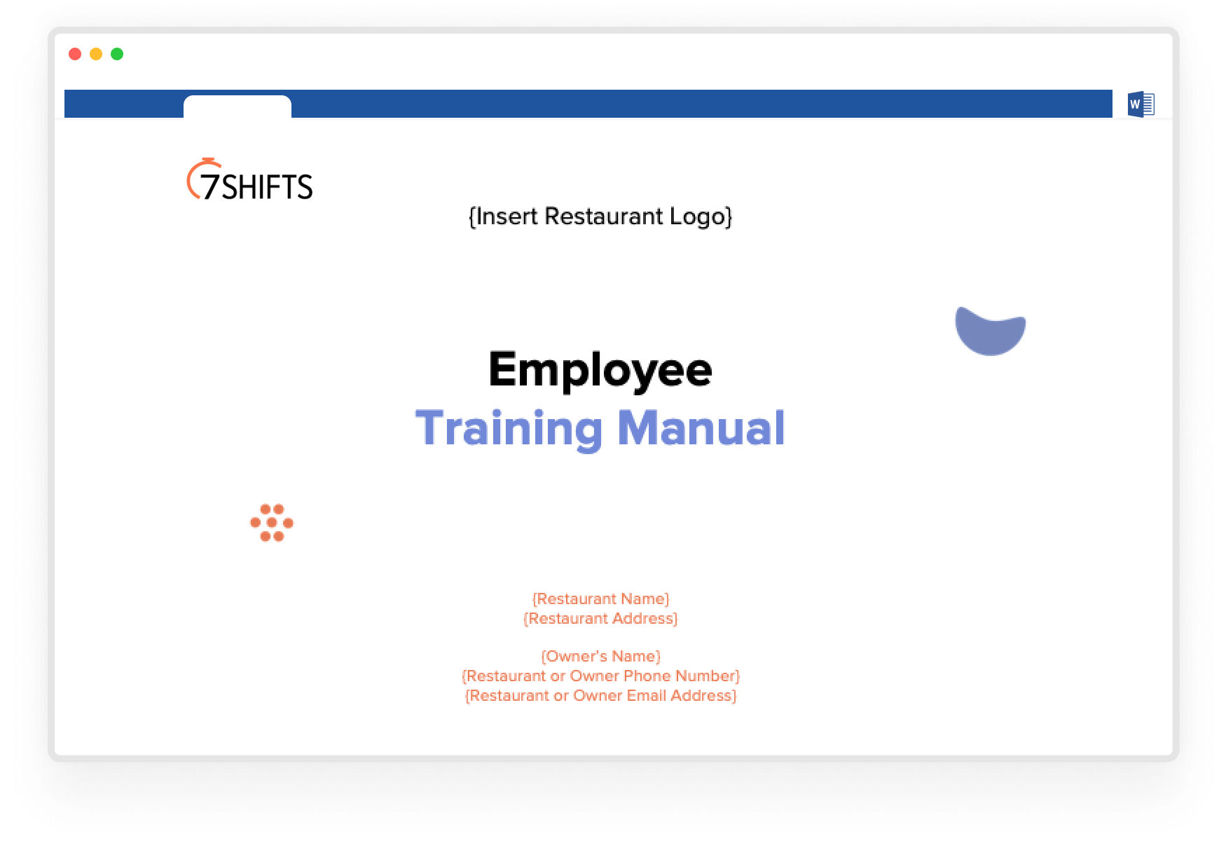 Image of restaurant employee training manual template