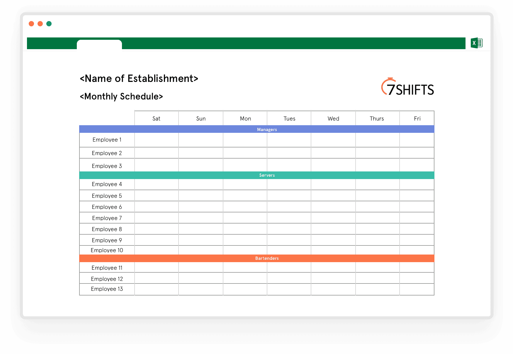 Download Free Monthly Work Schedule Template 7shifts 7shifts