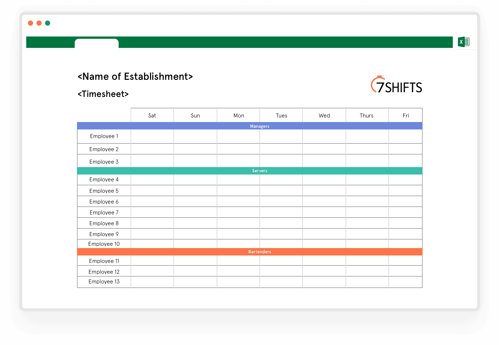 Download] Free Timesheet Excel Template for Restaurants   30shifts ...
