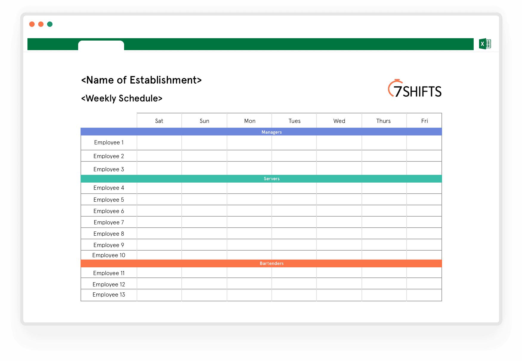 Template for weekly schedule