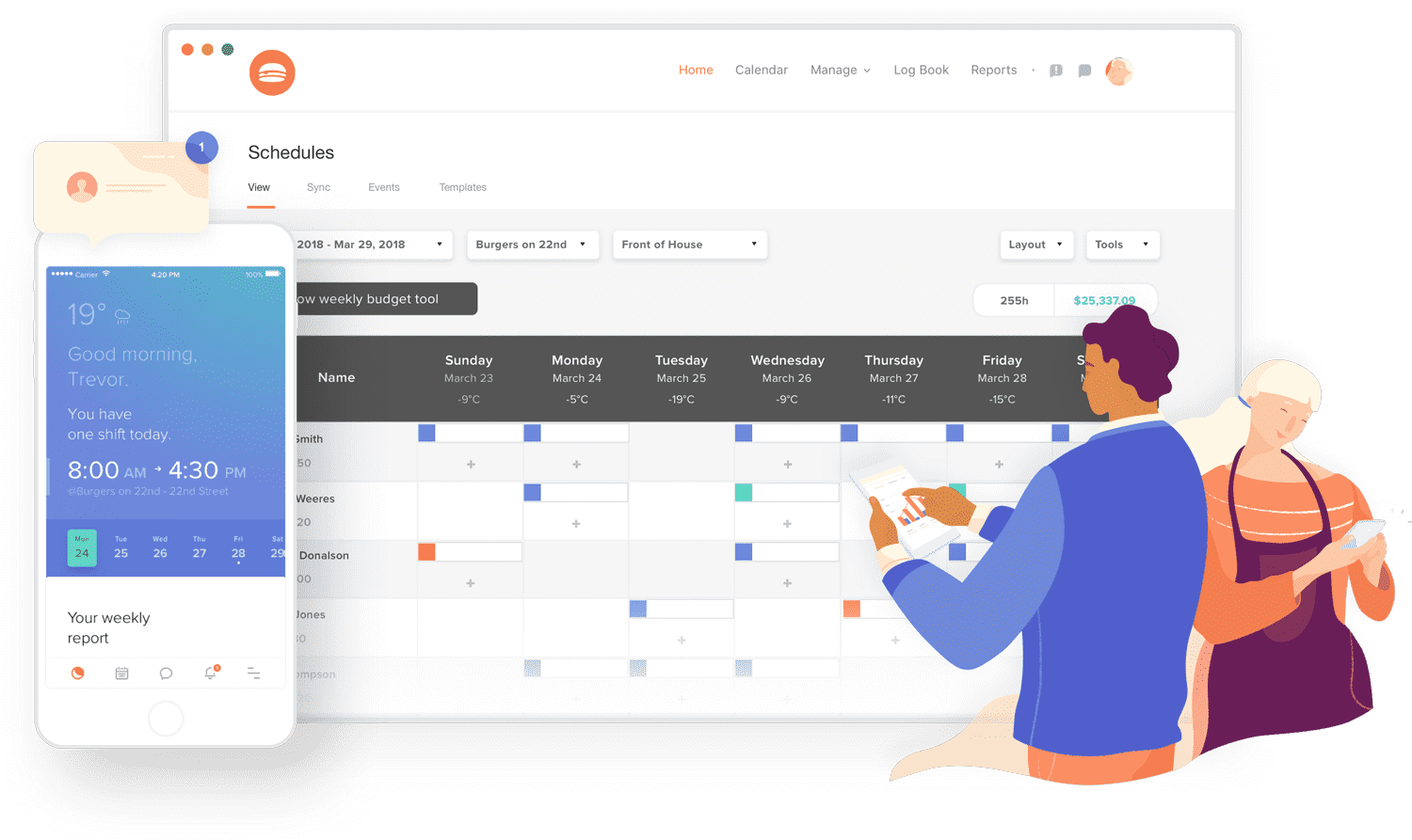 restaurant employee scheduling software illustration