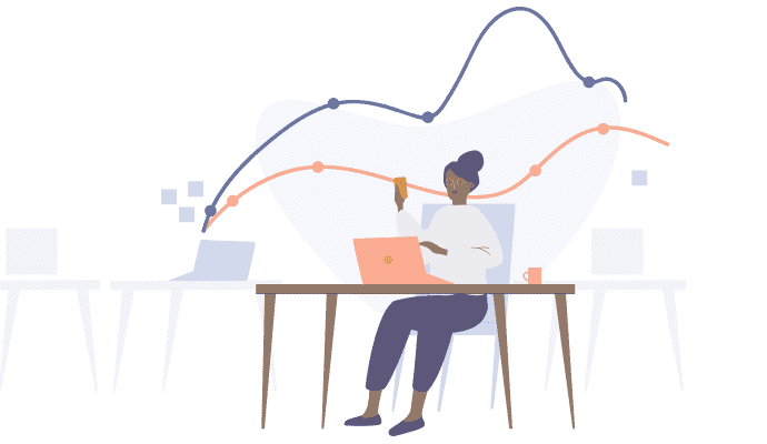 Illustration of person working on laptop