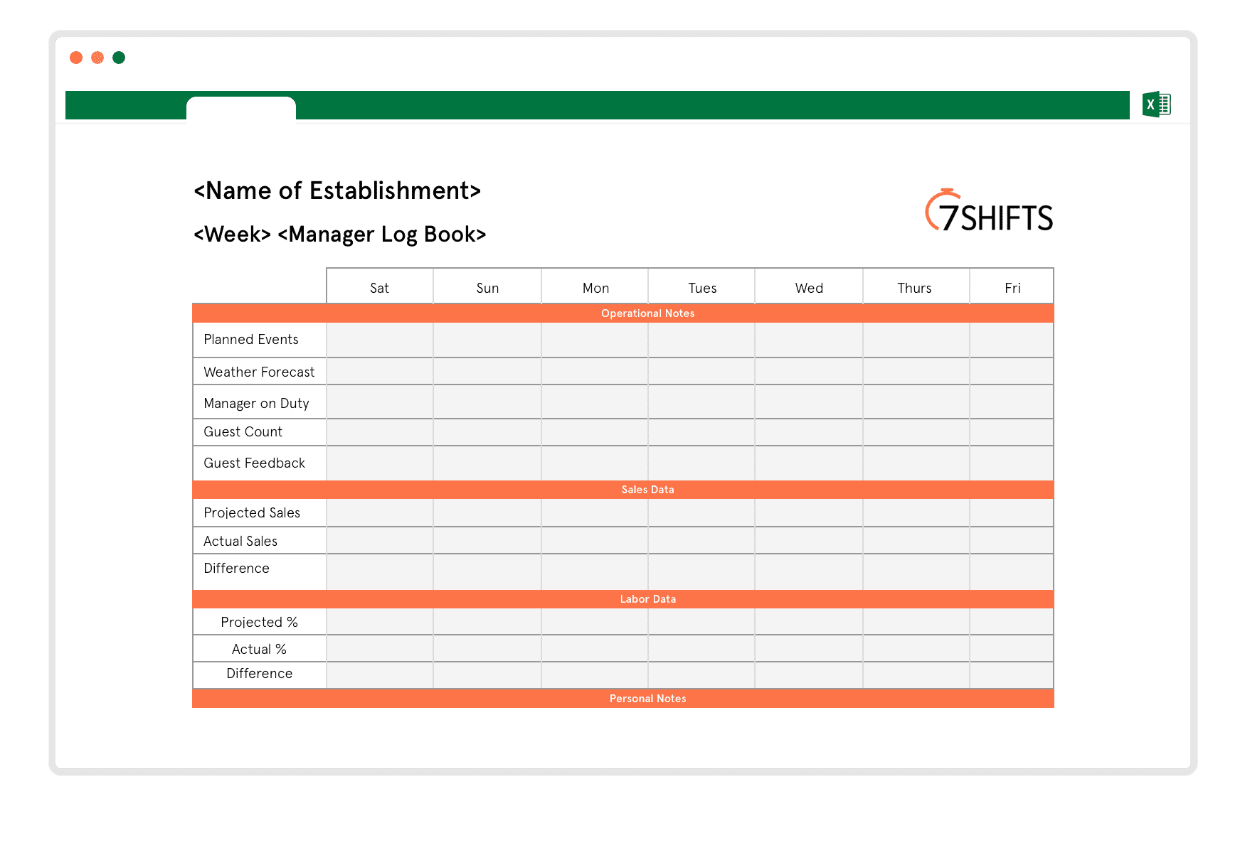 free restaurant manager log book template 7shifts