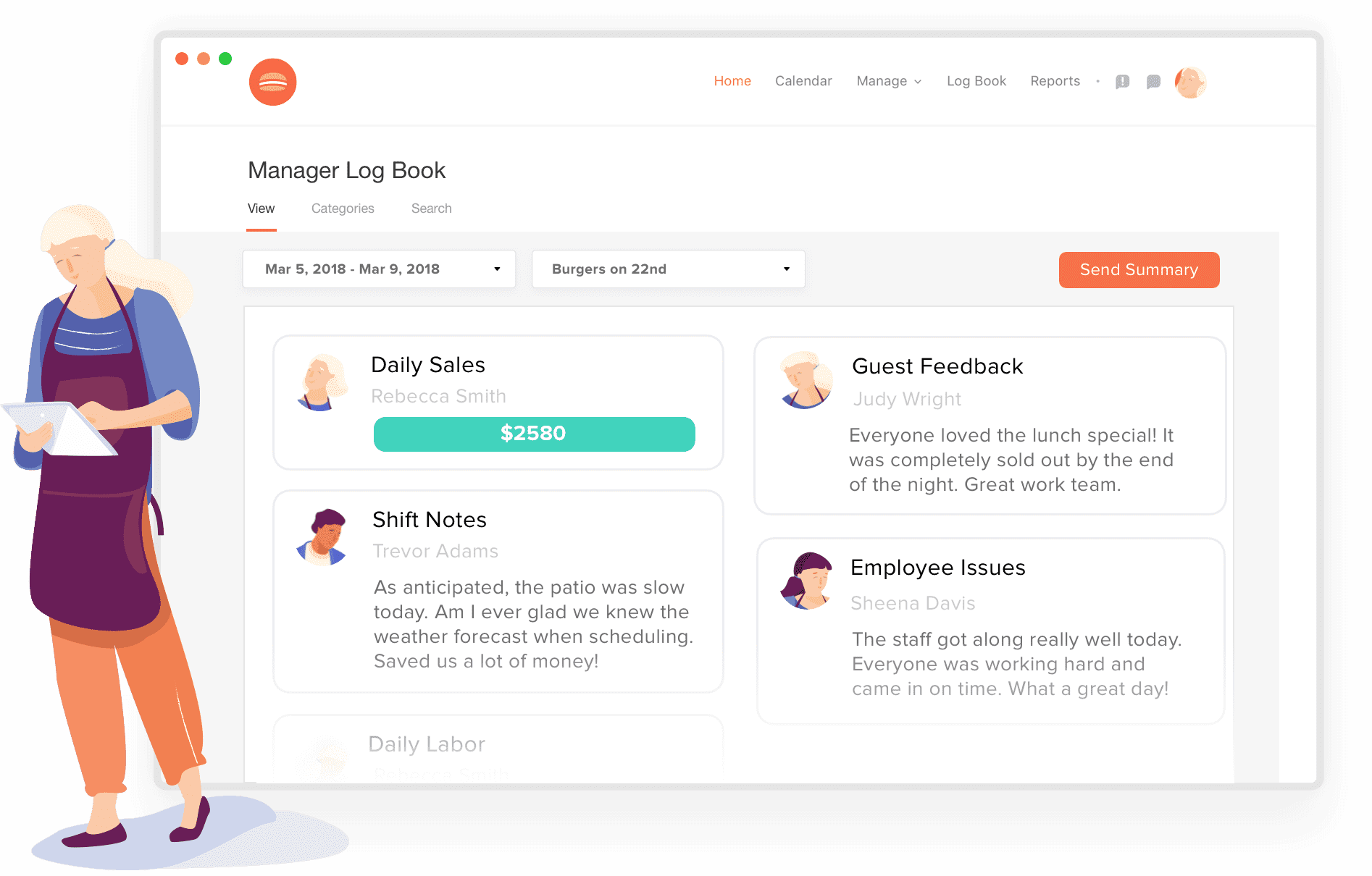 Manager logbook software illustration