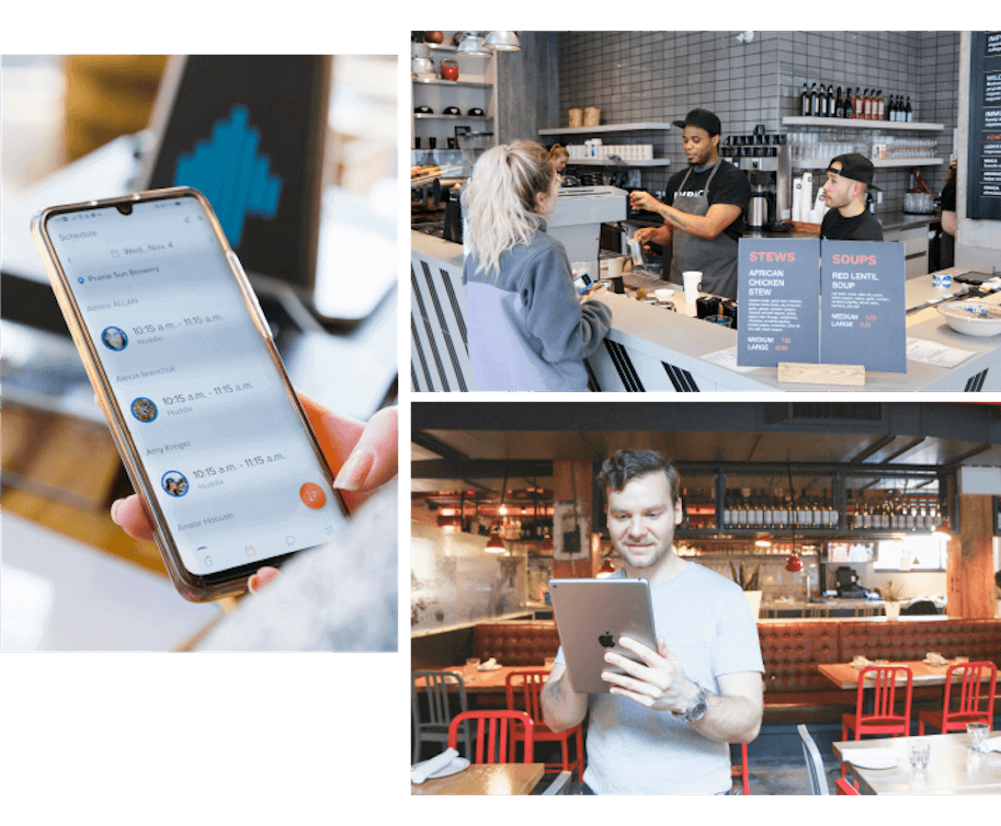 Collage of a restaurant employee serving customers, a manager checking their schedule on their phone and another manager looking at their labor report
