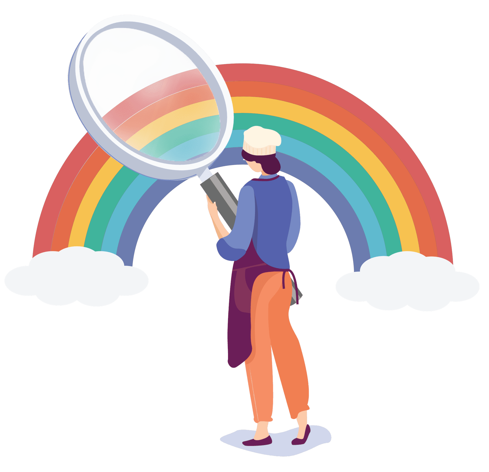 chef holding magnifying glass looking at a rainbow