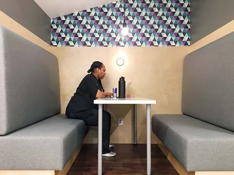 7shifts 2018 office working in the booths