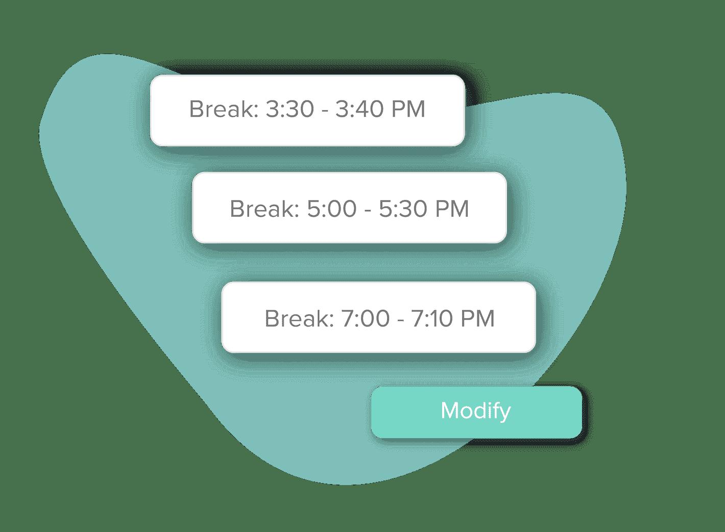 Modify breaks